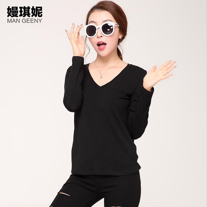 嫚琪妮2015冬季新款全棉打底衫加绒长袖T恤修身纯色韩版女装上衣