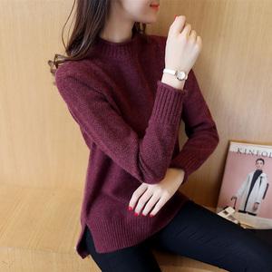 半高领毛衣女秋冬韩版宽松针织衫女套头加厚打底衫女装冬装新款潮羊绒衫女