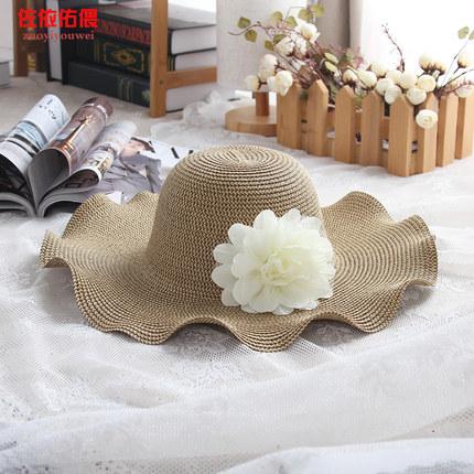 大帽檐防晒女2017夏遮阳女花朵蝴蝶结草帽出游大沿沙滩帽