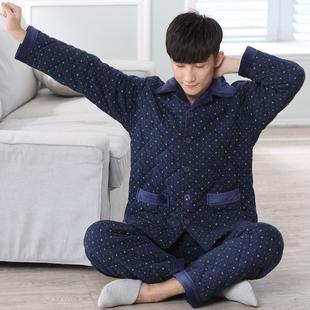 男士睡衣冬季加厚夹棉袄秋冬款纯棉加棉居家服全棉冬天家居服套装