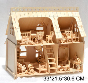 Large Porch Full House with Veranda DIY Model 3D Puzzle, wit