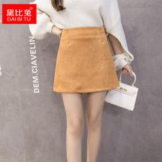 2016秋冬新款韩国麂皮绒休闲加厚纯色短裙一步裙女半身裙a字裙