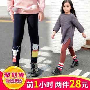 童装女童打底裤加绒加厚冬款儿童装宝宝外穿款保暖长棉裤子春秋季