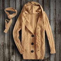 男士 秋冬装 休闲连帽开衫 新款 薄款 修身 男式针织衫 毛衣外套男韩版