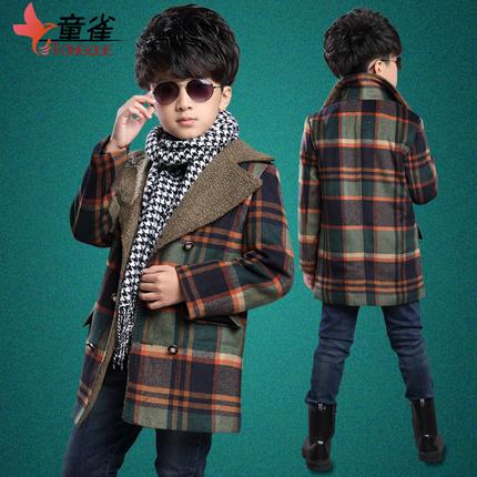 2015冬季童装毛呢大衣男童外套