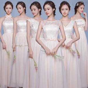 2016秋新款韩式伴娘服长款婚礼伴娘团姐妹裙主持人礼服修身香槟色伴娘服