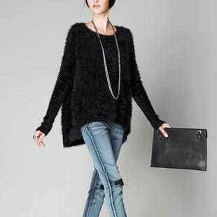 欧美高端秋冬女装优雅气质长袖毛衣女套头加厚保暖马海毛针织外套