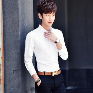 春季男士长袖衬衫男修身款白色衬衣男青年韩版纯色休闲寸衫男正装