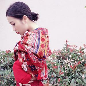 春秋夏季女文艺复古民族风披肩棉麻超大防晒旅游拍照围巾流苏丝巾丝巾