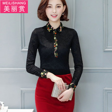 加绒加厚蕾丝打底衫女长袖冬季韩版新款大码高领修身绣花保暖上衣