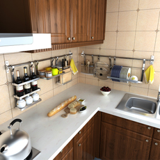 厨房挂杆壁挂锅盖架调料置物架不锈钢厨卫套件五金挂件挂钩收纳架