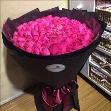 上海鲜花同城速递99朵红桃粉白玫瑰花束七夕节预定生日求婚花店