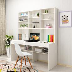简约现代电脑桌书架组合 办公桌书柜组合台式家用书桌 双人写字台