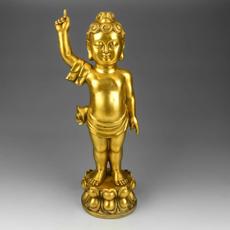 包邮开光黄铜纯铜太子佛像王子佛像释迦牟尼小浴佛铜像佛佛堂摆件