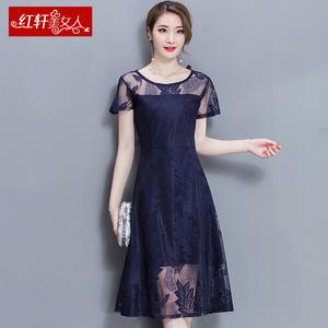 夏季蕾丝雪纺连衣裙女夏2017年新款韩版时尚显瘦中长款气质淑女