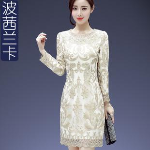 秋装连衣裙长袖中长款新款OL气质圆领修身包臀蕾丝打底裙一步裙潮