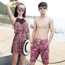 包邮专柜正品金格尔新款情侣泳衣女连体平角裙式泳衣男5分沙滩裤