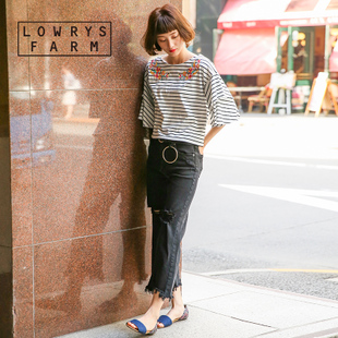 collectpoint LOWRYS FARM日系宽松喇叭袖刺绣T恤女7.11新764077