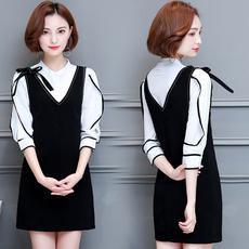 2017夏季新款大码女装小香风时尚名媛A字衬衫背带连衣裙两件套装