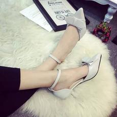 2016夏季新款凉鞋女鞋包头PU中跟细跟韩版甜美蝴蝶结一字扣女单鞋