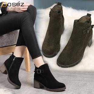 冬季新款复古粗跟加绒马丁靴女中跟磨砂皮短靴拉链短筒女靴及裸靴