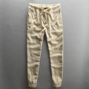 夏季男士休閑亞麻褲修身小腳透氣薄款純色棉麻布松緊粗麻布長褲子