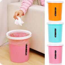 创意时尚条纹磨砂卫生间垃圾桶 厨房客厅卧室家用塑料无盖垃圾桶