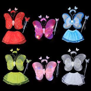 万圣节儿童蝴蝶翅膀天使发光玩具表演出服装三四件套女孩手杖头箍