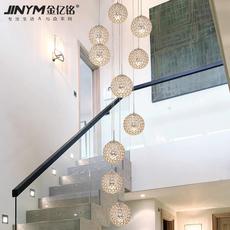 复式楼吊灯现代简约餐厅跃层创意客厅北欧led圆形水晶楼梯长吊灯