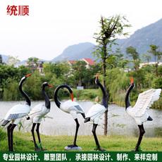 统顺花园摆件户外仿真仙鹤园林庭院别墅楼盘景观装饰品玻璃钢雕塑