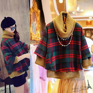 韩版新款蝙蝠袖假两件格子毛呢外套女秋冬短款宽松显瘦呢子大衣