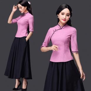 春秋新款女装复古时尚修身长款立领棉麻连衣裙中袖旗袍两件套装裙
