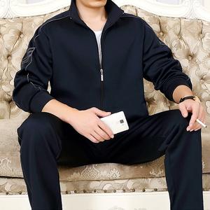 春季中年运动服装男春秋加大码爸爸装中老年卫衣夏休闲运动套装男男大码运动装