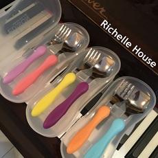 日本进口KJC edison婴儿童宝宝不锈钢餐具套装勺叉子组合便携带盒