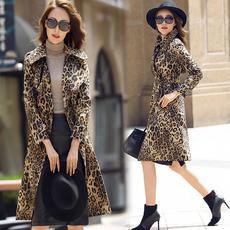 2017秋装新款女装明星同款豹纹印花风衣春大码显瘦外套女中长款潮