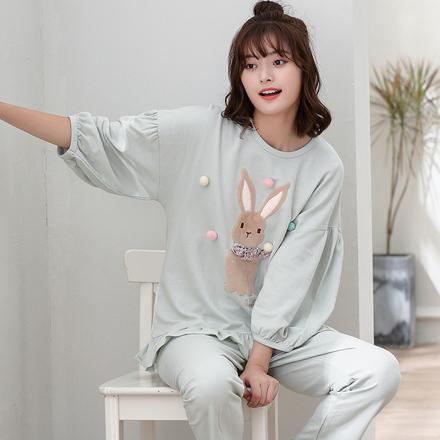 南极人睡衣女秋冬纯棉七分袖家居服韩版甜美可爱学生休闲全棉套装