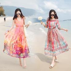 波西米亚连衣裙2016夏季胖mm印花大码修身显瘦长裙海边度假沙滩裙