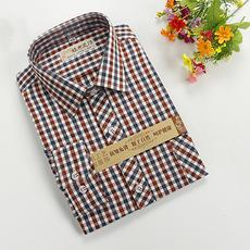 【天天特价】纯棉老粗布男士衬衣长袖青中老年休闲格子男装衬衫