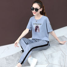 Cotton-Containing t-2019 Summer New Women's Fashion Korean Version Loose Sports Suit Women's Trousers and Short Sleeves