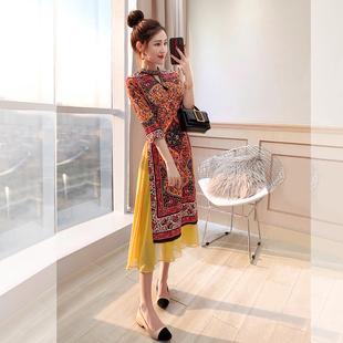 法式礼服裙优雅小改良秋冬唐装民族风女装复古中国风旗袍式连衣裙