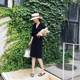 马大王 2018夏季新款中长款棉麻连衣裙女简约收腰系带衬衫裙F825