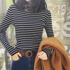 高领黑白条纹打底衫女毛衣秋冬短款长袖百搭针织套头修身罩衫上衣