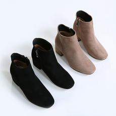 粗跟短靴女方头中跟鞋子加绒马靴女靴秋季新款2017百搭马丁靴