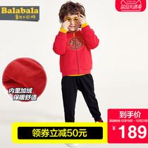 新款 套装 童装 巴拉巴拉男幼童长袖 加绒2018冬装 儿童洋气两件套红色