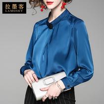 女长袖 2018春新款 打底衫 名媛气质衬衫 女装 雪纺衫 宽松百搭上衣欧货
