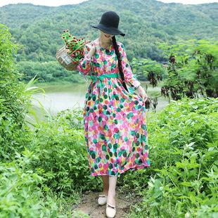 棉麻连衣裙女民族风女装春秋装新款大码V领印花长袖波点长裙子
