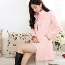 粉色毛呢外套  2017新款秋冬纯色羊毛立领修身中长款呢子大衣女潮