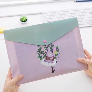 文件袋韩国可爱小清新卡通暗扣袋A4办公文件夹资料档案袋试卷袋