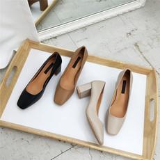 韩版方头浅口复古粗跟单鞋2017新款浅口素面百搭工作高跟鞋OL女鞋