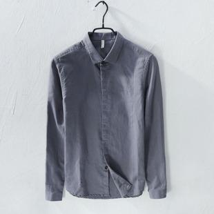 日系薄款亚麻长袖衬衫男秋季新款暗扣商务休闲修身纯色棉麻布衬衣